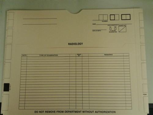 "Medical Folder X-Ray Jacket- 11pt., Kangaroo Pocket Style.  Manila Stock, Preprinted. 100 Jackets per Carton, Size 19"" W x 14 1/2 with 3/4"" Expansion"