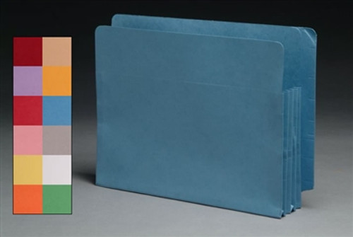 "End Tab Colored 5.25"" Accordion Expansion File folders - Letter Size - 12 Colors Choices - 100/Carton"