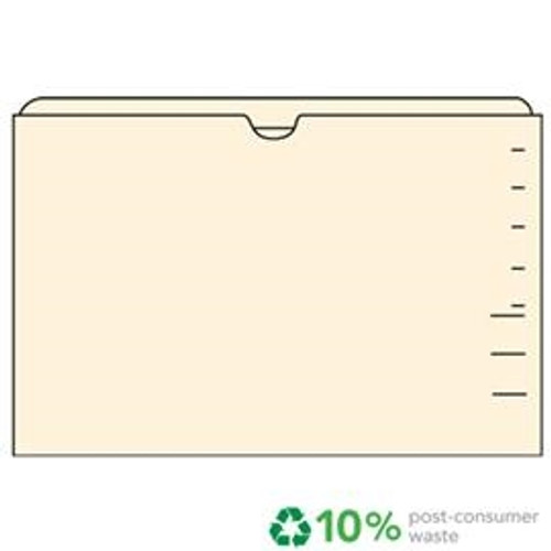 End Tab File Pocket, Manila, Flat-No Expansion, Letter Size, 14 pt, Double Ply Top Tab, 100/Box