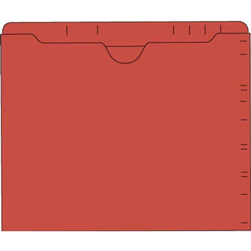 """Lateral Drawer File Jackets - Red - 9-1/2"""" H x 11-3/4"""" W - Double Ply Top Tab - 100/Box"""