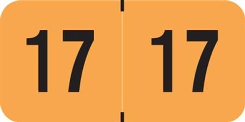 PMA Fluorescent Yearband Label (Rolls of 500) - 2017 - Fl. Orange - FOYM Series - Laminated