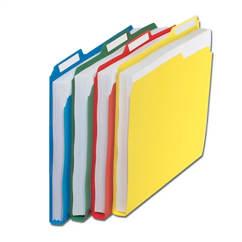 """Top Tab Poly File Folders - 11-3/4"""" x 9-1/2"""" - 4 Color Options - 24/Pack"""