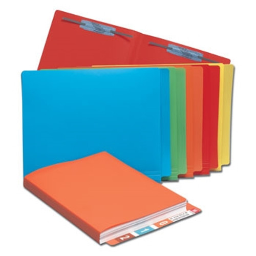 "Poly File Folders - Side Tab - ORANGE - 12-1/4"" x 9-1/2"" - 25/Pack (No Fasteners)"
