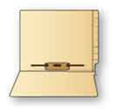 Ames Compatible End Tab Folders With Fasteners, Letter, 11 Point, Manila, 9.5 inch, Reinforced, 2 inch 5, Box of 50