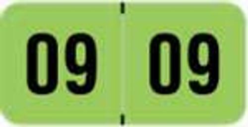 PMA Fluorescent Yearband Label (Rolls) - 2009 - Fl. Green