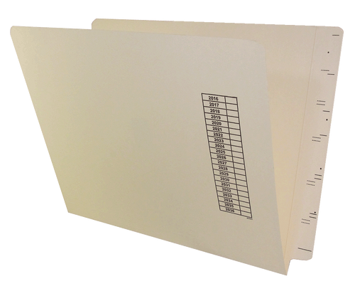 GBS Compatible End Tab Folder with Calendar printed - 11 Pt. Manila - Letter Size - Single Ply Full-Cut End Tab, Box of 100