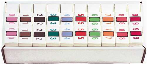 File Doctor Numeric Label - FDNV Series (Rolls) - 0-9 Set with tray