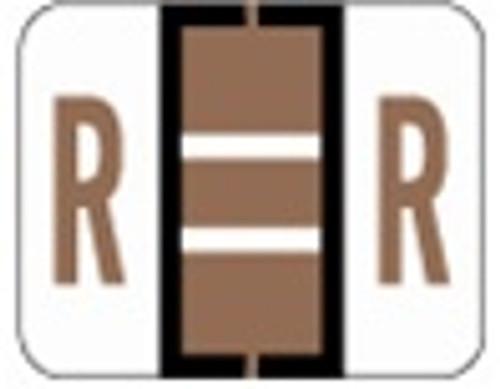 File Doctor Alphabetic Labels - FDAV Series (Rolls) R- Brown