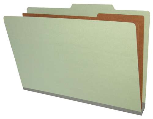 Top Tab Pressboard Folder w/ 2 Kraft dividers - Legal Size - Box of 10 - Color = Grey - Tyvek 2 inch Expansion