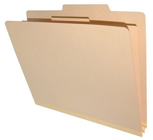 """Top Tab Classification Folder - 18 Pt. Manila Folder with Fasteners -  1 Kraft divider with duo fasteners - Letter Size  - 2"""" Tyvek Expansion - 10/Box"""