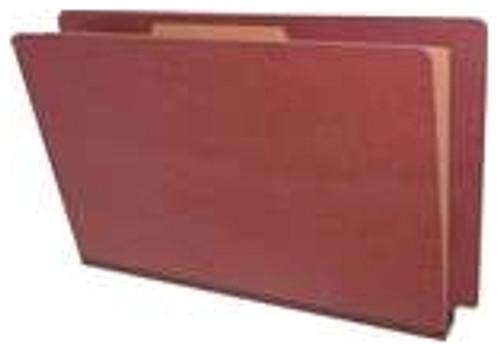 """End Tab Pressboard Folder - 1 Kraft divider - Legal Size - Tyvek 2"""" Expansion - Red/Russet - 10/Box"""