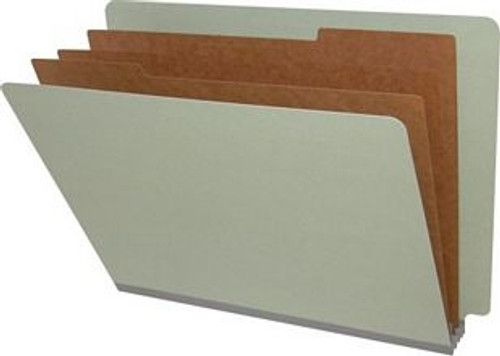 End Tab Pressboard Folders w/ 3 Kraft dividers - Letter Size - Box of 10 - Grey - Tyvek 3 inch Expansion