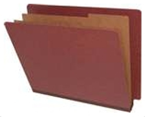 End Tab Pressboard Folders w/ 2 Kraft dividers - Letter Size - Box of 10 - Russet