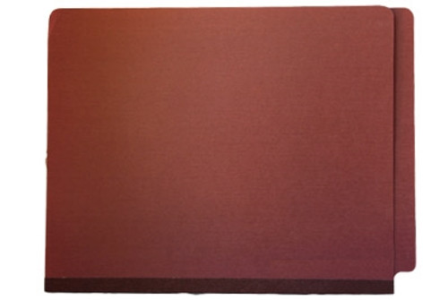 """End Tab Type II Red Pressboard Folder with Tyvek 2"""" Expansion Gusset - Fasteners in Positions 1 & 3 - Letter Size - 25/Box - Red"""
