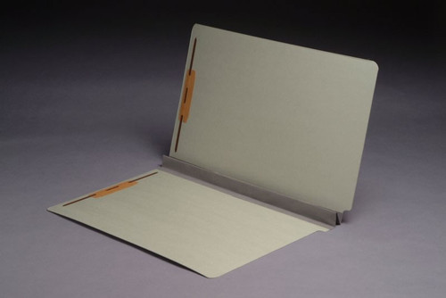 """End Tab Type II 25 PT. Pressboard Folder with 2"""" Tyvek Expansion - Grey - Letter Size - 2 Fasteners - 25/Box"""