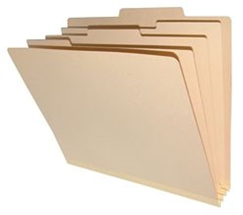 """Top Tab Classification Folders w/ 3 Dividers & 8 Fasteners - Manila - Letter Size - 18 pt - 3"""" Expansion - 10/Box"""