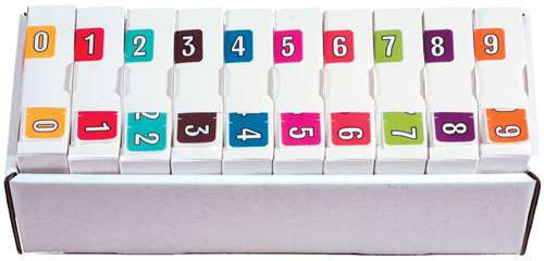Colwell Jewel Numeric Label - CONM Series (Rolls) - 0-9 Set with tray