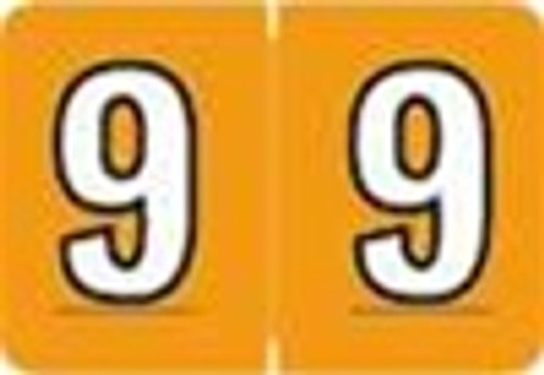 Colwell Jewel Numeric Label - CONM Series (Rolls) - 9 - Lt. Orange