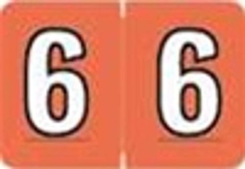 Colwell Jewel Numeric Label - CONM Series (Rolls) - 6 - Dk. Coral