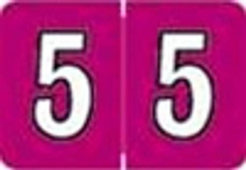 Colwell Jewel Numeric Label - CONM Series (Rolls) - 5 - Fuschia