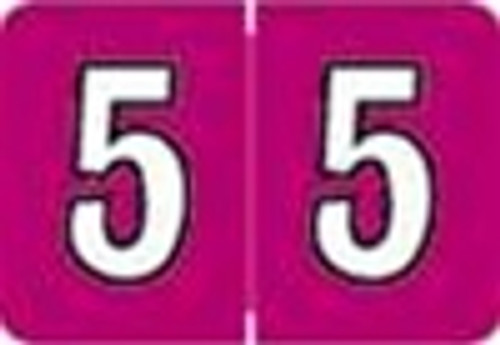 Colwell Jewel Numeric Label - CONM Series (Rolls) - 5 - Fuschia