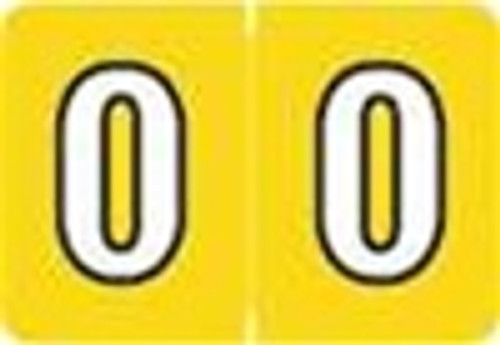 Colwell Jewel Numeric Label - CONM Series (Rolls) - 0 - Yellow