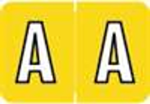 Colwell Jewel Alphabetic Labels - COAM Series (Rolls) A- Yellow