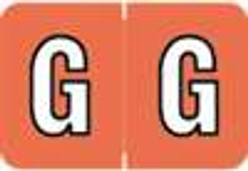 Colwell Jewel Alphabetic Labels - COAM Series (Rolls) G- Orange