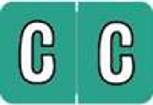 "Colwell Jewel Alphabetic Labels - COAM Series (Rolls) - Letter ""C""- Green - 1"" H x 1 1/2"" W - 500/Roll"