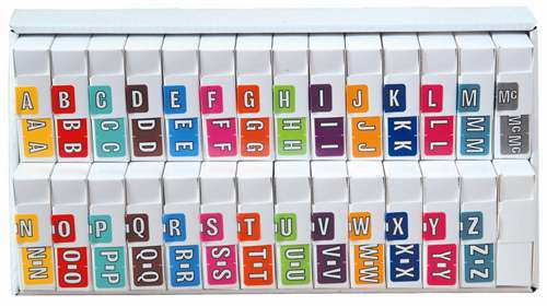 Colwell Jewel Alphabetic Labels - COAM Series (Rolls) A-Z Set with tray