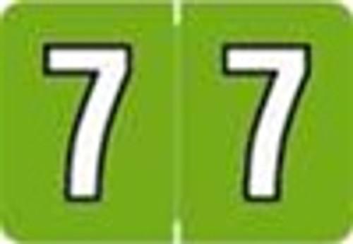 Colwell Jewel Numeric Label - CONM Series (Rolls) - 7 - Lt. Green