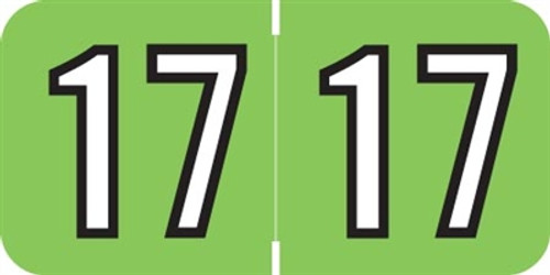 Barkley Yearband Label (Rolls of 500) - 2017 - Lt. Green/Black - BKYM Series - Laminated