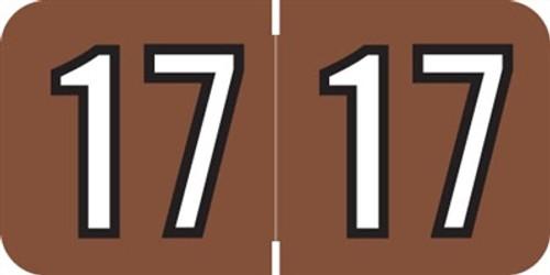 Barkley Yearband Label (Rolls of 500) - 2017 - Brown/Black - BAYM Series - Laminated