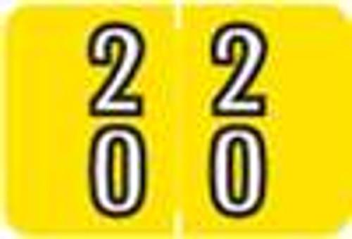 Barkley Systems Numeric Label - FDBKM Series (Rolls) - 20 - Yellow