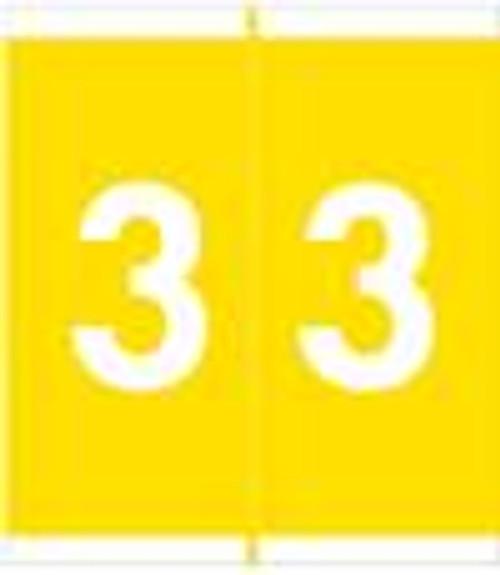 Barkley Systems Numeric Label - FNAVM Series (Rolls) - 3 - Yellow