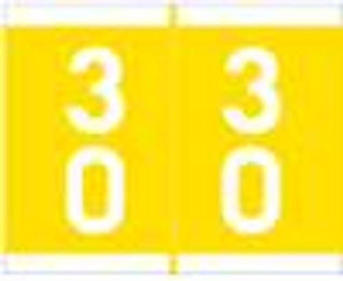 Barkley Systems Numeric Label - FDAVM Series (Rolls) - 30 - Yellow
