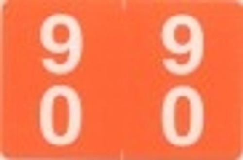 ACME Numeric Double Digit Labels - 90-99 - Matte - 500/Roll