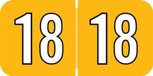 Amerifile Yearband Label (Rolls of 500) - 2018 - Orange - ARYM Series - Laminated