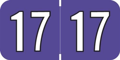 Amerifile Yearband Label (Rolls of 500) - 2017 - Purple - ARYM Series - Laminated