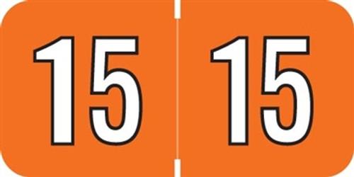 Amerifile Yearband Label (Rolls of 500) - 2015 - Orange - ARYM Series - Laminated
