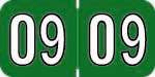 Amerifile Yearband Label - ARYM Series (Rolls) - 2009 - Green