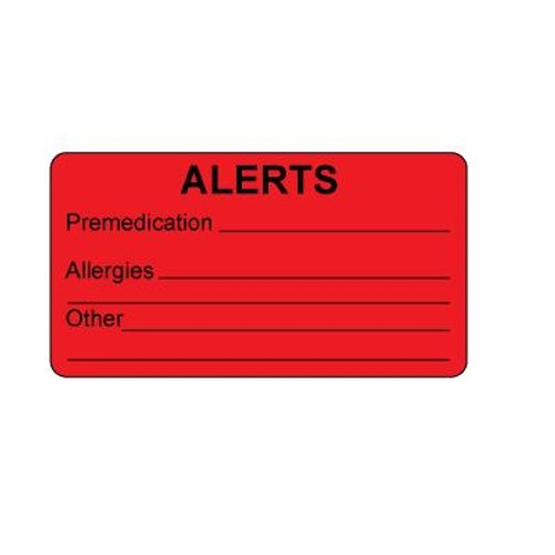 Alert Medical Label, Red Fluorescent, 250/Roll
