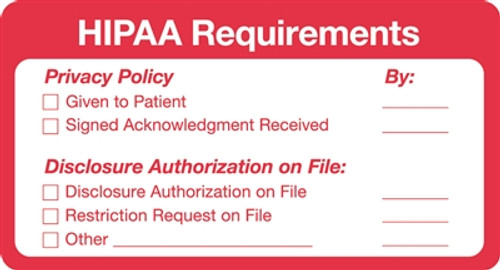 """HIPPA Requirements"" Label - 3-1/4"" x 1-3/4"" - White/Red - 500/Box"