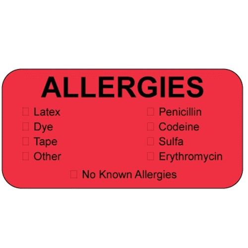"""""""Allergies"""" Label with Check Boxes for different types of allergies - Fluorescent Red - 1-1/2"""" x 7/8"""" - 250/Box"""