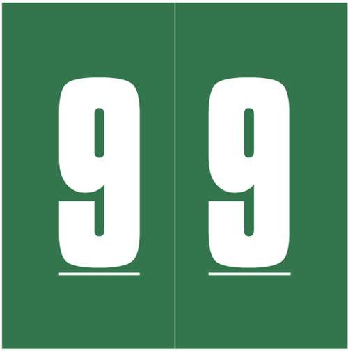 Ames Numeric Labels - L-A-00178RLP Series (Rolls) - 9 - Green