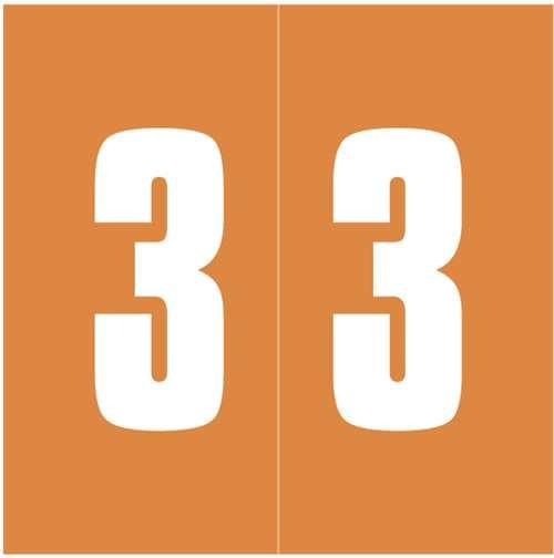 Ames Numeric Labels - L-A-00178RLP Series (Rolls) - 3 - Orange