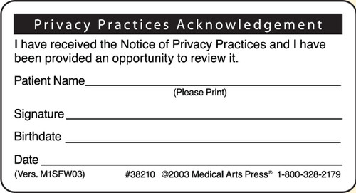 Privacy Practices Acknowledgement Label - 500/Box