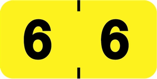 Ames/St John Numeric Label - AMSM Series - 6 - Yellow