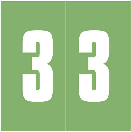 IFC Numeric Labels - CL3300 System #3 Series (Rolls) - 3 - Green
