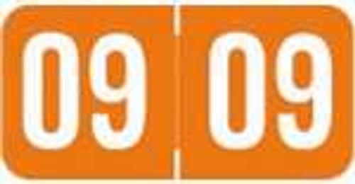 Acme Yearband Label (Rolls of 500) - 2009 - Orange - ACYM Series - Laminated